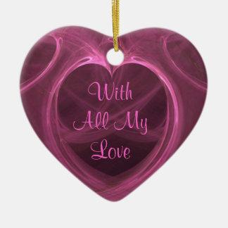 Silky Pink Heart Keepsake Double-Sided Heart Ceramic Christmas Ornament