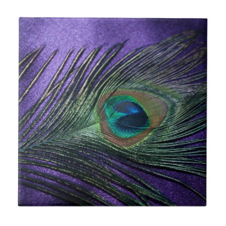 Silky Purple Peacock Feather Ceramic Tile