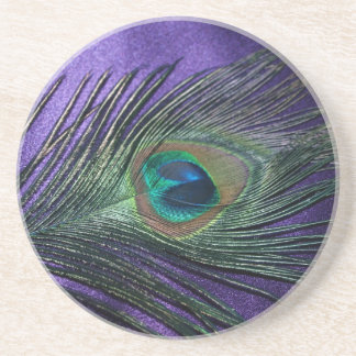 Silky Purple Peacock Feather Drink Coaster