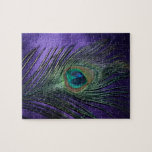 Silky Purple Peacock Feather Jigsaw Puzzles