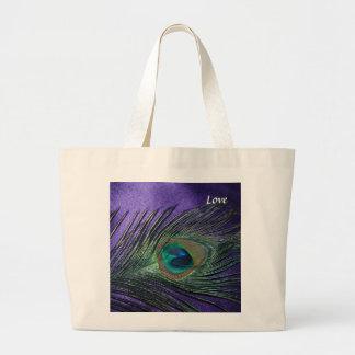 Silky Purple Peacock Feather Jumbo Tote Bag