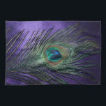 "Silky Purple Peacock Feather Kitchen Towel<br><div class=""desc"">Amazing dark purple peacock feather design.  The rich colors of the peacock feather look amazing against the dark royal purple.  If you need a peacock gift idea,  this is beautiful.</div>"
