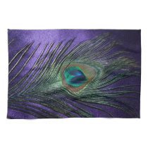 Silky Purple Peacock Feather Kitchen Towel