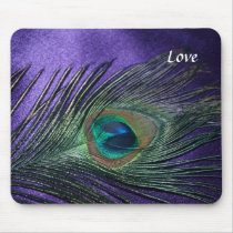 Silky Purple Peacock Feather Mouse Pad