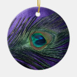 Silky Purple Peacock Feather Double-Sided Ceramic Round Christmas Ornament