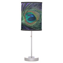 Silky Purple Peacock Feather Table Lamp