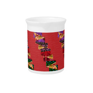 SILKY red fabric Flowers n Graphics ART - LOWPRICE Drink Pitcher
