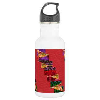 SILKY red fabric Flowers n Graphics ART - LOWPRICE Water Bottle