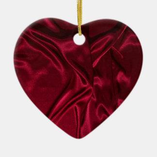 """Silky Red Heart"" Ceramic Ornament"