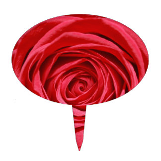 Silky Red Roses Petals Romantic Flowers Cake Topper