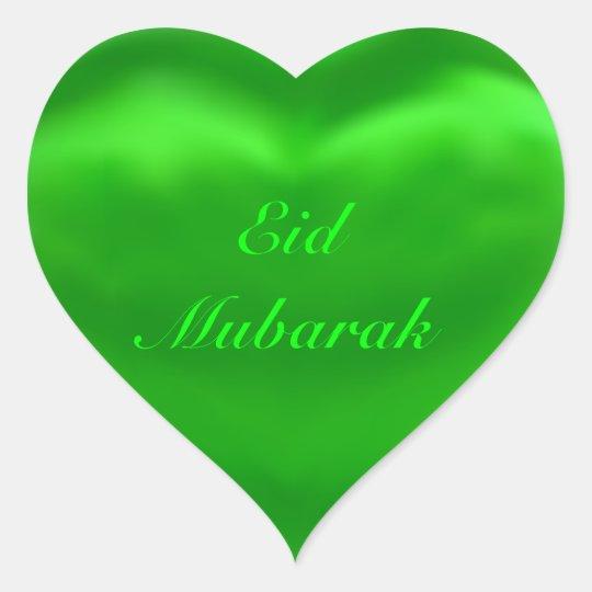Eid Mubarak Stickers: Silky Satin Green Eid Mubarak Heart Sticker