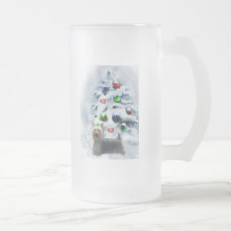 Silky Terrier Christmas Gifts Frosted Glass Beer Mug