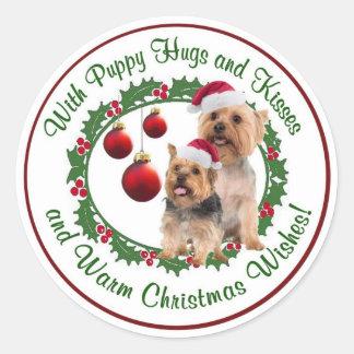 Silky Terrier Christmas Wishes Round Seals Classic Round Sticker