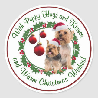 Silky Terrier Christmas Wishes Round Seals Stickers