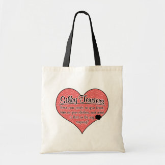 Silky Terrier Paw Prints Dog Humor Budget Tote Bag