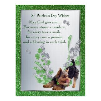 Silky Terrier Pup St Pattys Day Spiritual Message Postcard