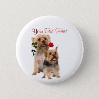 Silky Terrier Red Rose Valentine Design Button