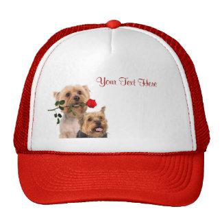 Silky Terrier Red Rose Valentine Design Trucker Hat