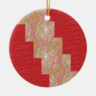 SILKY Waves n Elegant Red Fabric Print - LOW PRICE Ceramic Ornament