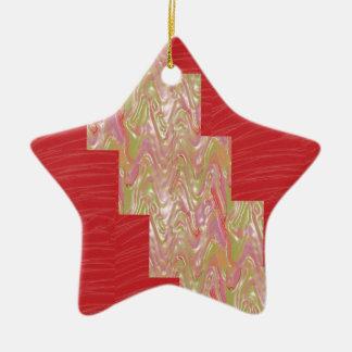 SILKY Waves n Elegant Red Fabric Print - LOW PRICE Christmas Tree Ornament