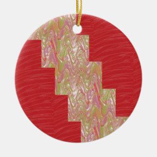 SILKY Waves n Elegant Red Fabric Print - LOW PRICE Christmas Ornaments