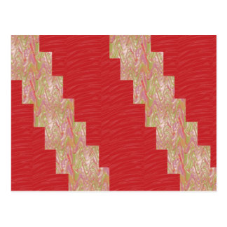 SILKY Waves n Elegant Red Fabric Print - LOW PRICE Postcard
