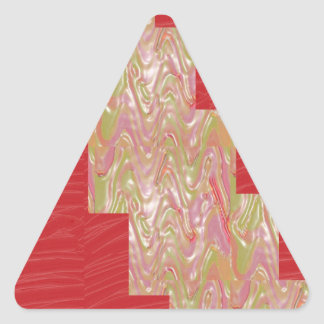 SILKY Waves n Elegant Red Fabric Print - LOW PRICE Triangle Sticker