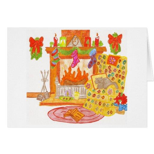 silla acogedora de la chimenea tarjeta de felicitación