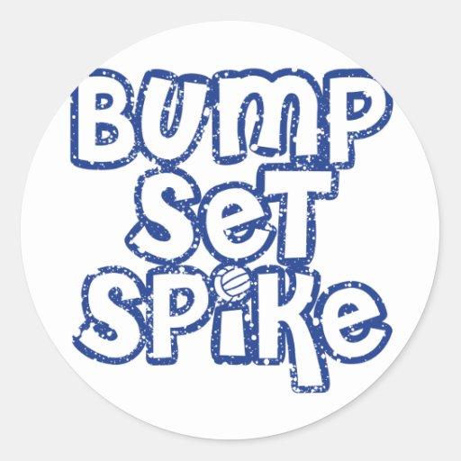 Silla Blue Volleyball Classic Round Sticker