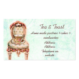 Silla color de rosa rosada de la taza de té y del  tarjetas de visita