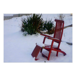Silla de jardín Roter rojos Liegestuhl im Schnee Poster