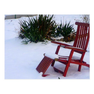 Silla de jardín Roter rojos Liegestuhl im Schnee Postal