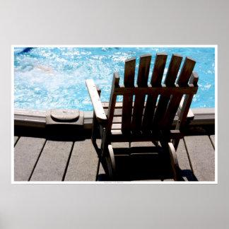 Silla de la piscina y de cubierta póster