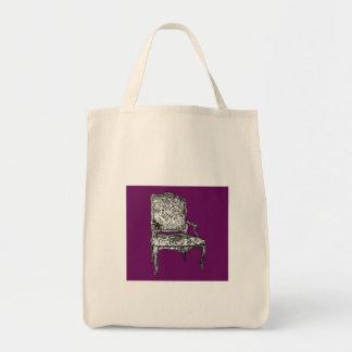 Silla de la regencia en púrpura bolsa tela para la compra