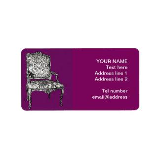 Silla de la regencia en púrpura etiquetas de dirección