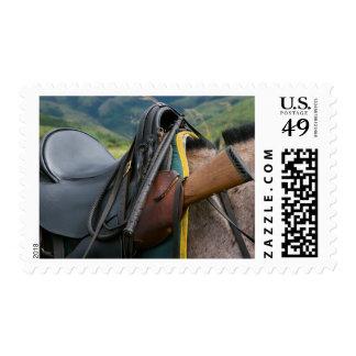 Silla de montar fijada para el safari del caballo, estampillas