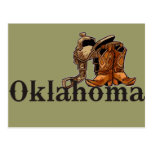 Silla de montar y botas de Oklahoma Tarjeta Postal