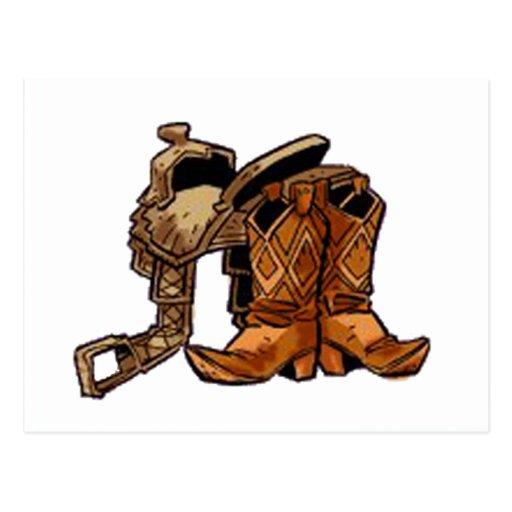 Silla de montar y botas postales