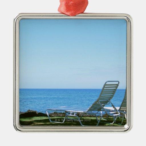 Silla de playa 4 adorno cuadrado plateado