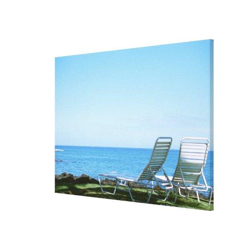 Silla de playa 4 impresión en lienzo