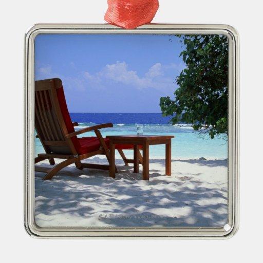 Silla de playa 6 adorno navideño cuadrado de metal