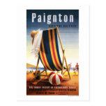 Silla de playa de los ferrocarriles y poster tarjeta postal