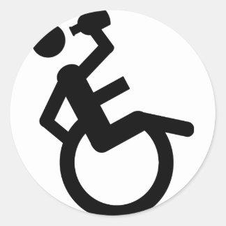 silla de rueda del boozer de la silla de ruedas pegatina redonda