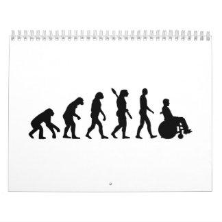 Silla de ruedas de la evolución handicaped calendarios de pared