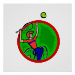 Silla de ruedas del muchacho del tenis posters