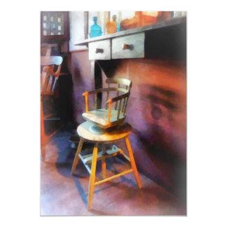 Silla del peluquero del niño del vintage invitación 12,7 x 17,8 cm