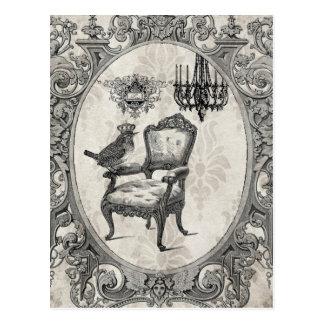 Silla del vintage y postal francesas del pájaro