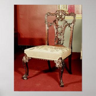 "Silla, diseño del ""director"" de Chippendale, c.176 Póster"