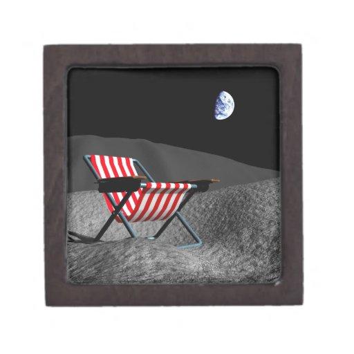 Silla en la luna caja de recuerdo de calidad