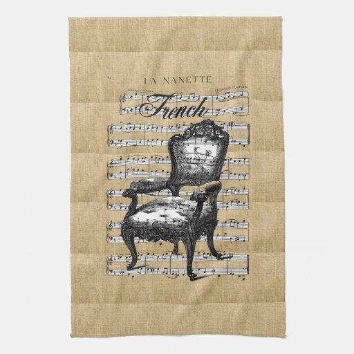 Silla francesa en la arpillera toallas de mano